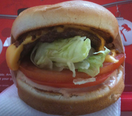 In-n-Out cheeseburger with grilled onions