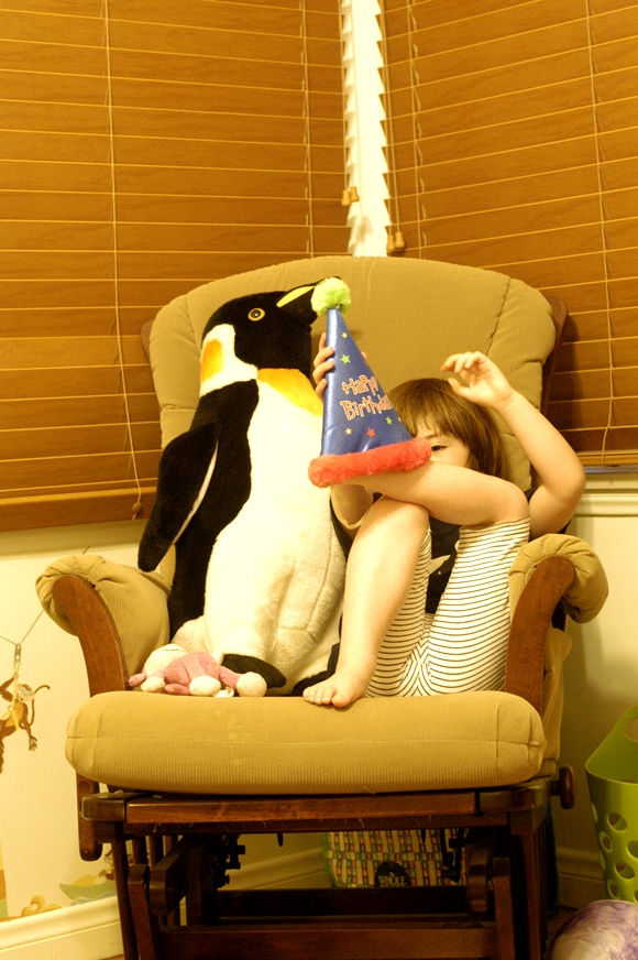 Baguette with birthday hat and penguin