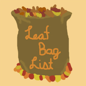 Illustration of bag full of autumn leaves