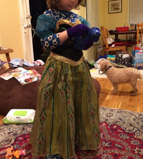 little girl dressed as Anna from Frozen