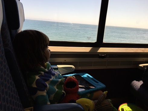 Baguette's second train ride, returning from Carpinteria