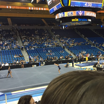 gymnastics meet warmup at Pauley Pavilion, from stands