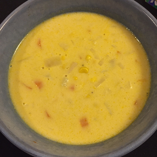 Blue bowl with corn chowder